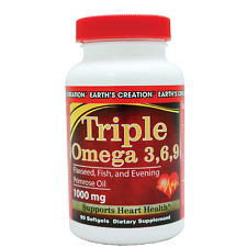 Earth's Creation Triple Omega 3,6,9 with Flaxseed Oil Heart and Nerve Health