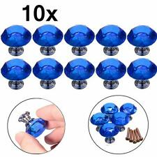 10x 30mm Blue Clear Crystal Glass Door Knobs Drawer Cabinet Kitchen Handles New