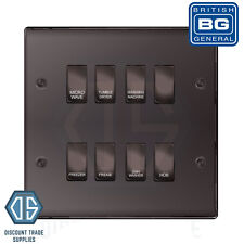 BG Black Nickel Custom Grid Switch Panel Labelled Kitchen Appliance 8 Gang