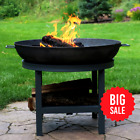 Sunnydaze Cast Iron Round Fire Pit Bowl with Built-in Log Rack - Outdoor Wood Bu