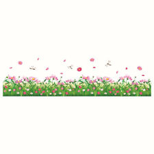 PVC Green Grass Butterfly Flower Footer Wall Stickers Living Room Decorations