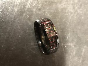 As-new Titanium Wedding Band With Red Inlay.