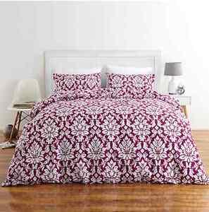 New Natasha Damask Print 3pc Quilt / Doona Cover Set - King Bed