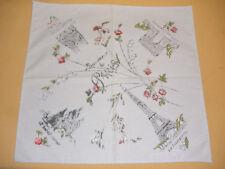 Vintage Souvenir Handkerchief of Paris Eiffel Tower, Notre Dame