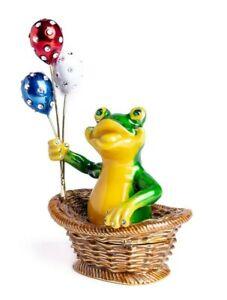Frog w/ Balloons trinket box hand made by Keren Kopal & Austrian crystals