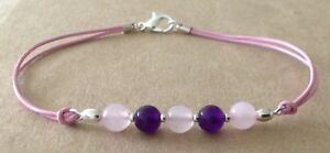 ROSE QUARTZ+AMETHYST, Leather Cord, Silver Plated, Charm Friendship Bracelet