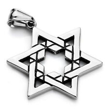 MENDINO Men's 316l Stainless Steel Pendant Necklace Jewish Star of David Biker