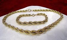 "1/20-12K GF YELLOW GOLD FILLED 15.5"" NECKLACE AND TWIST ROPE BRACELET 7.5"" SET"