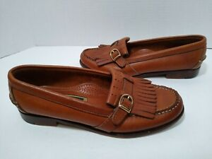 Cole Haan Women's Loafers brown kilt gold buckle SIZE 5.5???