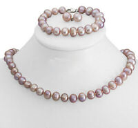 8-9mm Freshwater Cultured Pink Purple Pearl Necklace Bracelet & Earrings Set