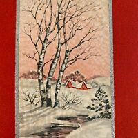 Vintage Early Mid Century Christmas Greeting Card Birch Trees In Snow Red