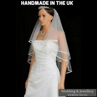 White Ivory 2t Bridal Wedding Veil with Comb, Elbow length, Satin Edge, Diamante