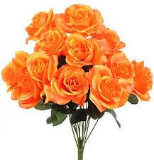 12 Orange Open Long Stem Roses Silk Wedding Flowers Bouquets Centerpieces Decor