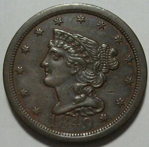= 1849 XF/AU Half Cent, Better Date, Low Mintage 39K, FREE Shipping
