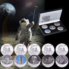 5pcs 50th Anniversary APOLLO 11 Armstrong Silver Commemorative Coins In The Box