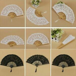 Party Handmade Bamboo Staves Silk Folding Fan Womens Lace Fans