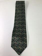 Bill Blass Black Label Tie, 100% Silk, Green, with gold bars, Print