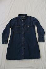 Mango Women's Collared Long Sleeve Denim Shirt Dress BE9 Dark Blue Large NWT