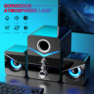 3 Units Speakers USB 2.1 Channel Gloss Black Home Stereo With Blue LED Lights