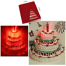 3D Pop Up Greeting Cards LED Light Happy Birthday Music Handmade Postcard