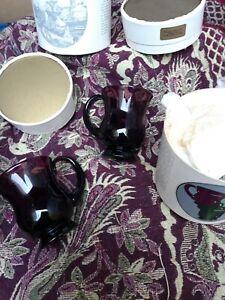 Rare Thos. Webb (Thomas Webb) Bristol amethyst 2x Cider Mugs in original box