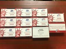 Lot of 11 U.S. Mint SILVER PROOF sets - 1999 through 2009 (Complete Run)