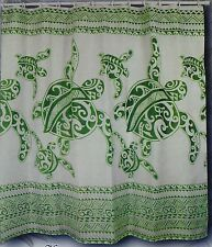 Sage green Turtle Hawaiian Fabric Shower Curtain Animal Hawaii water repellent