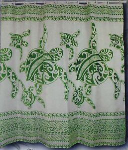 Sage green Turtle Hawaiian Fabric Shower Curtain Animal Hawaii water repellent