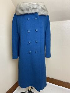 Vintage Teal Boucle Swing Coat With Fox Fur Collar
