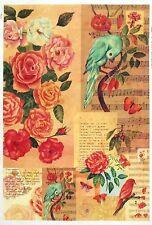 CIALDE di riso-Colorful Uccello Rose-per decoupage Decopatch SCRAPBOOK Craft sheet