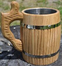 Wooden Beer Mug Tankard With Metal Insert 0.65L Light Tinted Oak Handmade Coffee
