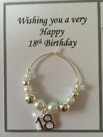 Wine Glass Charm 18th 21st Birthday Silver & White Celebration Gift or Present