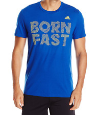 """Adidas Nwt Men t-shirt size Large color Blue with """"Born Fast"""" on Front"""