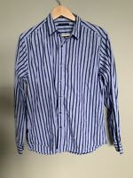 Theory Men's Button Down Shirt Striped Long Sleeve 100% Cotton Blue Size Large