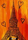ACEO ORIGINAL Painting~CROWS~ROMANCE~PARIS~EIFFEL TOWER~OUTSIDER~SMOODY