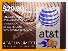 At&T Unlimited 4G Lte Fast Data Plan No Throttling For Hotspot/Phone/Tablet/Ipad