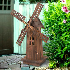 Decorative Wooden Dutch Windmills Outdoor Lawn Garden Patio Yard Decor Brown