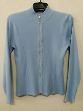 EP Pro Womens Sweater Size Large - Blue Long Sleeve Golf Ribbed Knit Zip Up Top