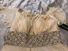 Jovani Gown Embellished Beading Light Gold Beige Silk