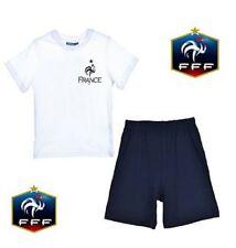 Tee-shirt pyjama de l'équipe de France blanc et short bleu signature des joueurs