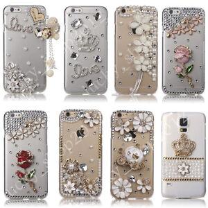 Handmade Luxury Bling Diamond Rhinestone Clear Case Cover for LG Stylo 6 5 4 V40