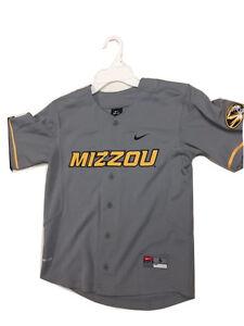 Mizzou Youth Button Up Baseball Dri-Fit Jersey Gray University of Missouri