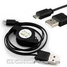 Cable Micro USB para BlackBerry Q10 Q5 Z10 Z30 Retractil Cargador Carga Viaje