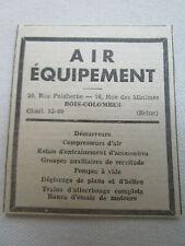 1939-40 PUB AIR EQUIPEMENT BOIS-COLOMBES DEMARREUR COMPRESSEUR TRAIN AVION AD