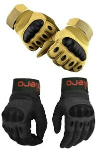 EVO PRO Leather All Weather Motorbike Gloves Carbon Fiber Knuckle Paintball Gun