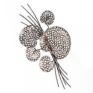 Wanddeko, Wandbild  PURLEY LEAVES Blätter 52x27cm antik silber Metall Casablanca