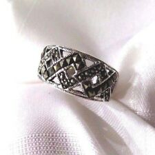 925 STERLING SILVER  MARCASITE WIDE BAND  RING SIZE 9