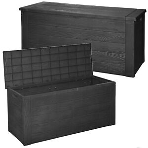 Outdoor Black 300L Garden Patio Cushion Furniture Toy Storage Holder Box Chest