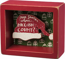 "PBK 4"" x 3"" Wood Wooden BOX SIGN ""Dear Santa, Does Nice-ish Count?"" Shadow Box"