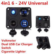Universal 4in1 LED Voltmeter 2USB Car Charger Switch Cigarette Lighter Panel Kit